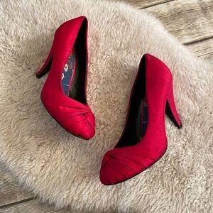 Rocket Dog Red Bow Fabric Heels